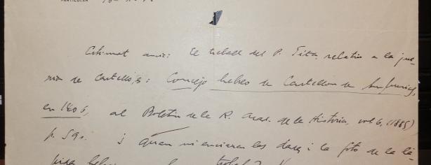 Carta de J. M. Millàs i Vallicrosa, professor de la Universitat de Barcelona, enviada a Fages el 16 d'octubre de 1944