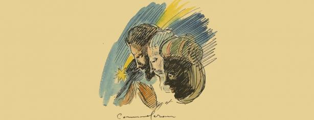 Joan Commeleran. Dibuix per a l'edició del Poema dels tres Reis