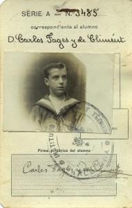 Carnet escolar de Carles Fages de Climen